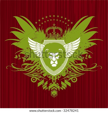 Heraldry with lion head - stock vector