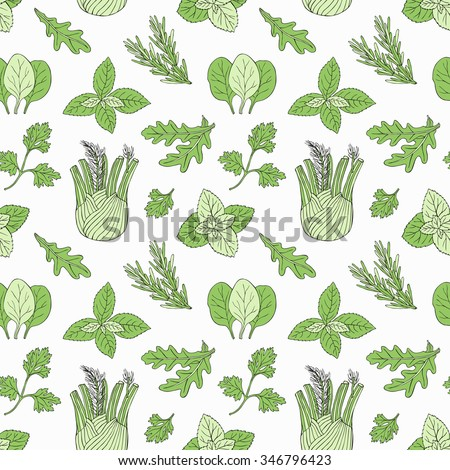 Herb seamless pattern. Surface hand drawn decoration with mint, spinach, basil, parsley. Vector illustration. Cloth design, wallpaper, wrapping. - stock vector