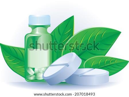 Herbal medicine pills - stock vector