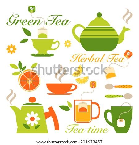 Herbal tea set - stock vector
