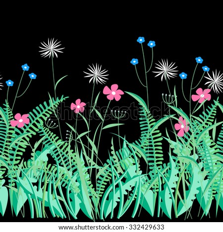 Herbs and flowers on black. Horizontal decorative seamless pattern background. Vector illustration - stock vector