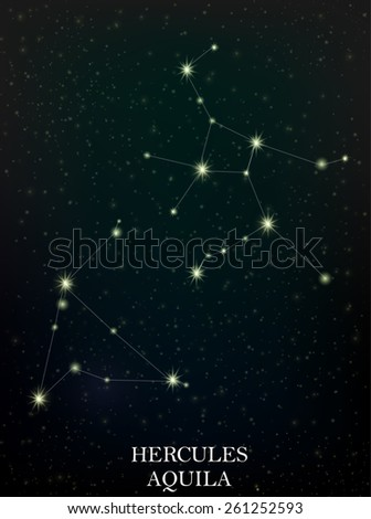 Hercules and Aquila constellation - stock vector