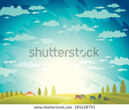 Herd of cows and green field on a cloudy sky background.Vector rural summer landscape. - stock vector