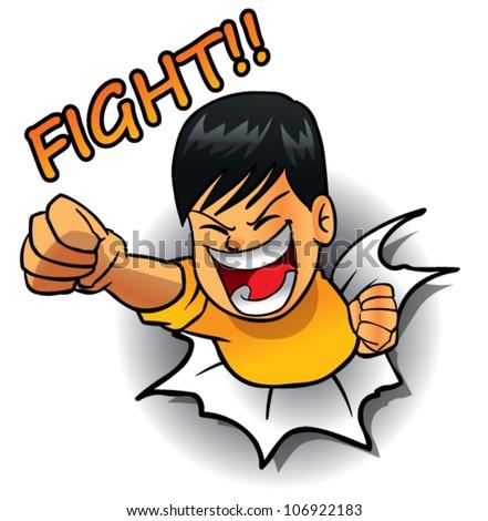hero punch action - stock vector