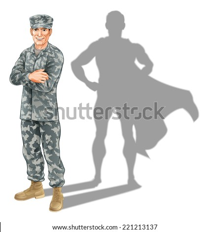 Hero soldier concept. A conceptual illustration of a military soldier standing with his shadow in the shape of a superhero - stock vector
