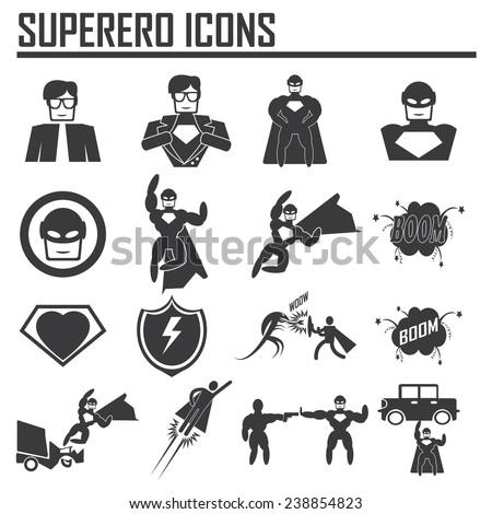 hero superhero icons . illustration vector EPS 10 - stock vector