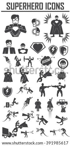 hero superhero icons . illustration vector EPS 10, Big pack - stock vector