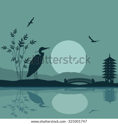 Heron silhouette on river at beautiful asian place on blue, vector illustration - stock vector
