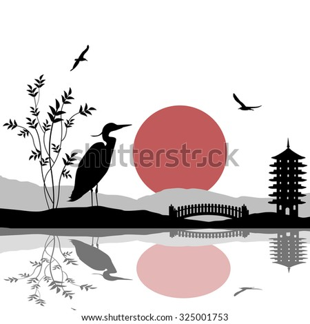 Heron silhouette on river at beautiful asian place on white, vector illustration - stock vector