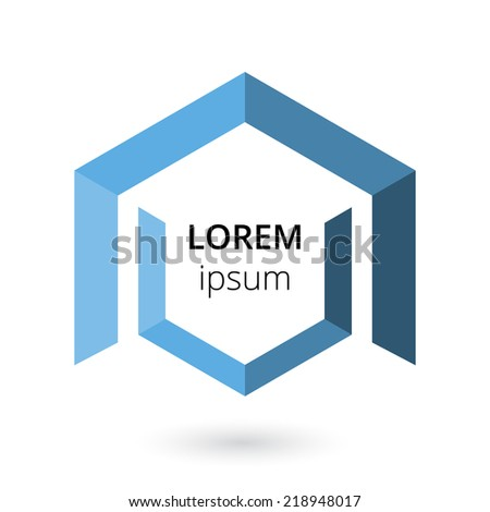 Hex logo template with place for text and design for two sided business card - stock vector