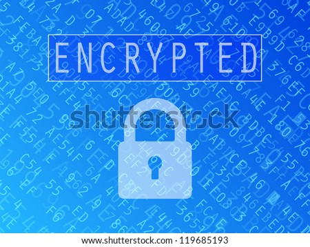 Hexadecimal numbers and letters with padlock symbol and Encrypted text vector background - stock vector