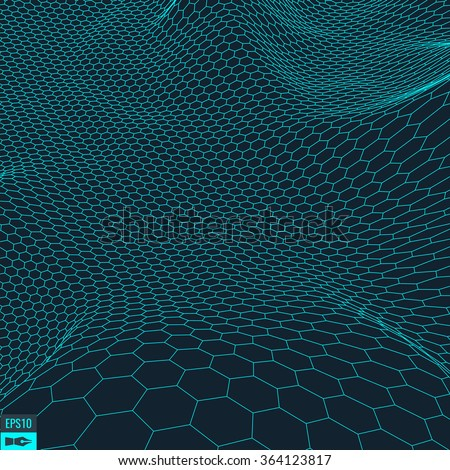 Hexagon abstract vector landscape background. Cyberspace hexagon grid. 3d technology vector illustration.Polygonal hexagon surface. - stock vector