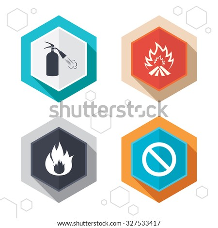 Hexagon buttons. Fire flame icons. Fire extinguisher sign. Prohibition stop symbol. Labels with shadow. Vector - stock vector