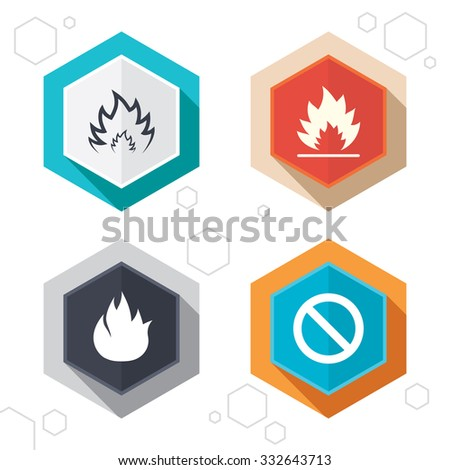 Hexagon buttons. Fire flame icons. Prohibition stop sign symbol. Labels with shadow. Vector - stock vector