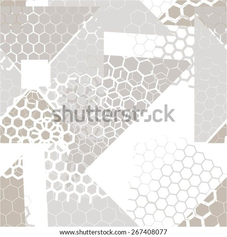 Hexagon in the geometric abstract pattern, seamless vector background - stock vector
