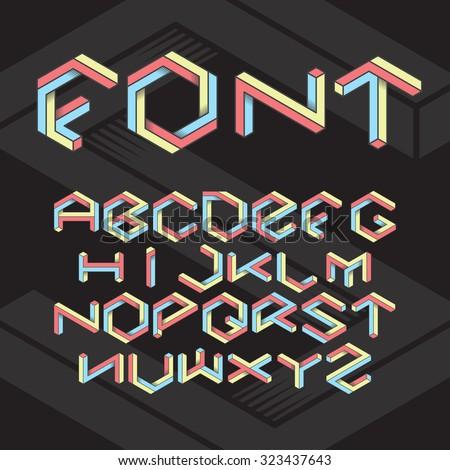 Hexagon isometric retro font set on black background - stock vector