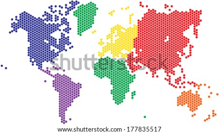 Hexagon shape world map in various colors by continent. - stock vector