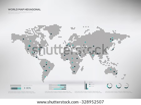 Hexagon shape world map, infographic, vector illustration  - stock vector