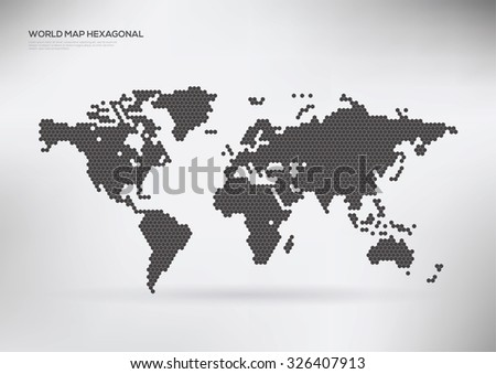 Hexagon shape world map, vector illustration  - stock vector