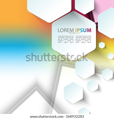 hexagon shapes elements technology background - stock vector