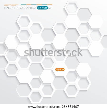Hexagonal abstract 3d background, vector illustration - stock vector