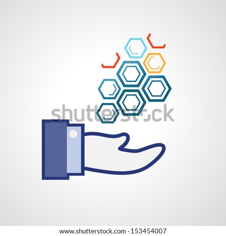 hexagonal abstract icons,business concepts  in hand vector - stock vector