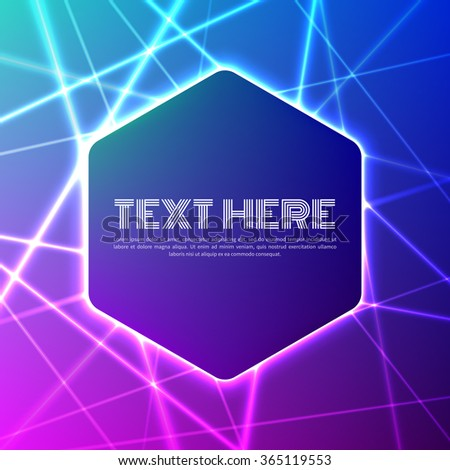 Hexagonal banner on grid of colorful laser rays - stock vector