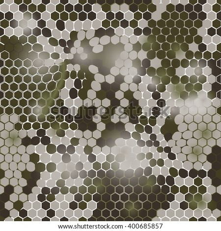 Hexagonal camouflage.Vector digital hexagonal camo seamless pattern - stock vector