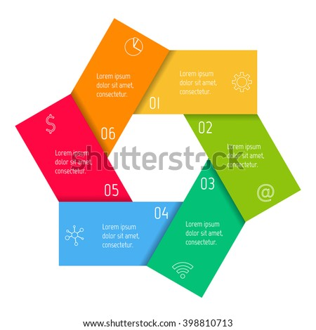 Hexagonal flower infographic banner with 6 folded options. Isolated number banner template for diagram, presentation or chart. Origami progress steps for tutorial. Business concept sequence banner. - stock vector