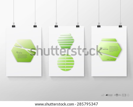 Hexagonal Isolated Vector Compositions Variations Set in Green Color Adjustable Eps10 Vector - stock vector