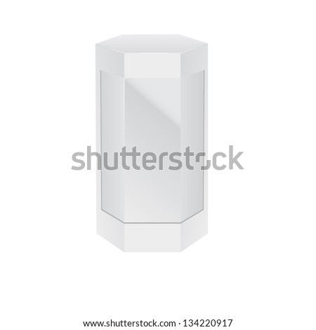 Hexagonal Modern Box, White with Glass Window. Cardboard, Glass, Carton Package Box On White Background Isolated. Ready For Your Design. Product Packing Vector EPS10 - stock vector