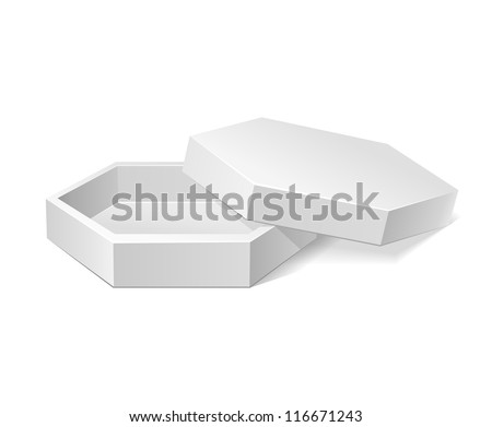 Hexagonal Modern Candy Open Box, White. Cardboard, Carton Package Box Open On White Background Isolated. Ready For Your Design. Product Packing Vector EPS10 - stock vector