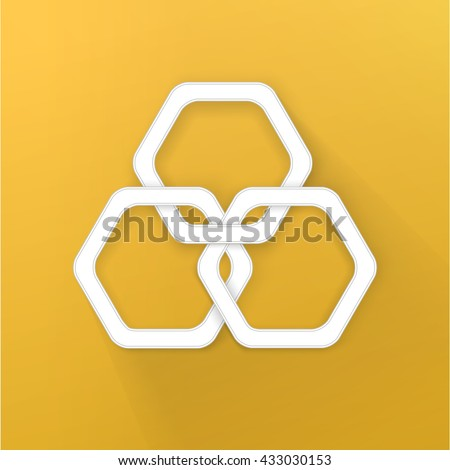 Hexagonal Rings Chain Vector Design Composition for Your Options Menu Functional Branding Symbol - stock vector