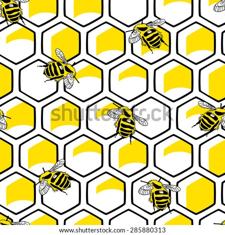 Hexagonal seamless pattern with bees - stock vector