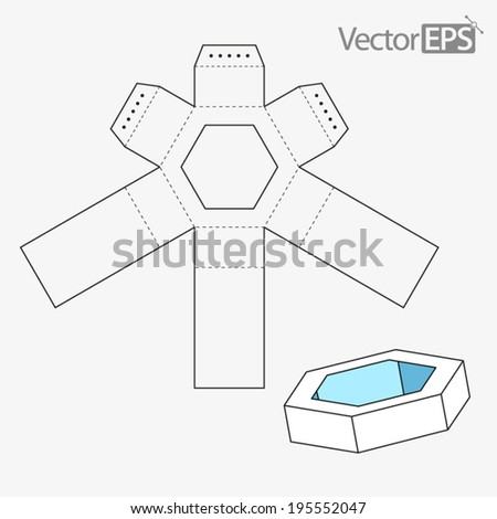 Hexagonal Tray with Window Cover - stock vector
