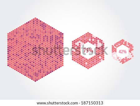 Hexagons constructed by hexagon cells. Every cell a separate object to combine colors of your own choosing. - stock vector
