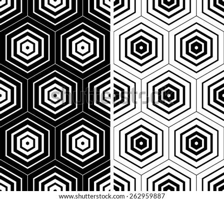 Hexagons patterns. Seamless geometric textures set. Vector art.  - stock vector