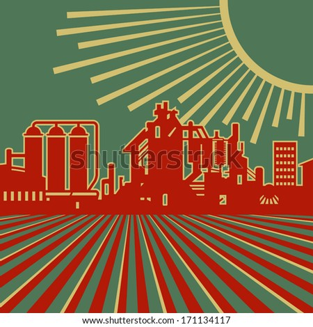 Heyday of heavy industry retro vector illustration - stock vector