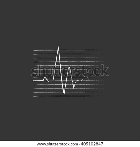 Hheart beat cardiogram. Drawn in chalk icon. - stock vector