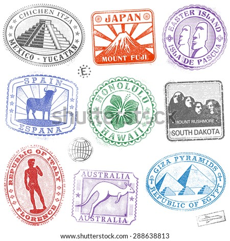 Hi detail collection of Colorful monument and culture icon stamps from all over the world - stock vector