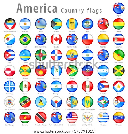 Hi detail vector shiny buttons with all American Country flags. Every button is isolated on its own layer  - stock vector
