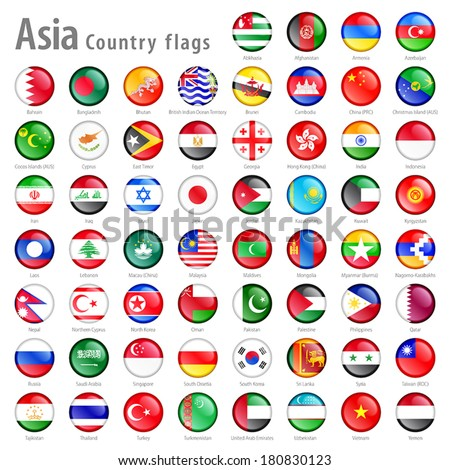 Hi detail vector shiny buttons with all Asian flags. Every button is isolated on it's own layer - stock vector