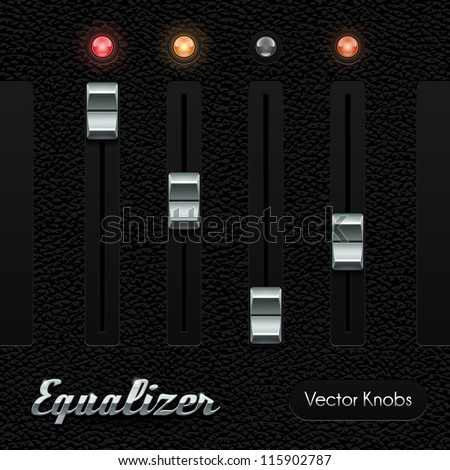 Hi-End UI Analog Volume Equalizer Level Mixer Knob Chrome On Leather Background. Metal Button, Red Lamp, Bulb. Web Design Elements. Software Controls. Vector User Interface EPS10 - stock vector
