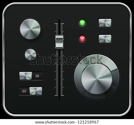 Hi-End UI Analog Volume Equalizer, Level Mixer, Volume Knob Chrome. Metal Switch Button, Lamp, Bulb. Web Design Elements. Software Controls. Vector User Interface EPS10 - stock vector