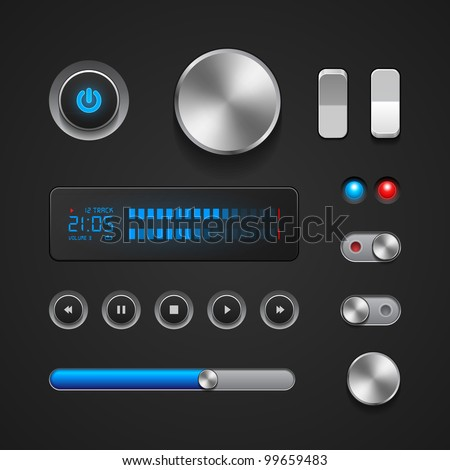 Hi-End User Interface Elements: Buttons, Switchers, On, Off, Player, Audio, Video: Play, Stop, Next, Pause, Volume, Equalizer, Power, Screen, Track - stock vector