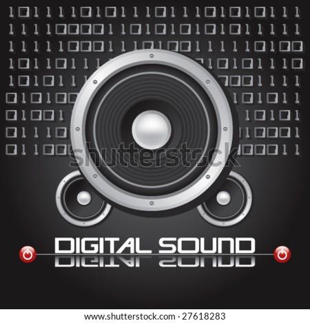 HI-FI Stereo Speaker With Digital Binary Background -Vector Art- - stock vector
