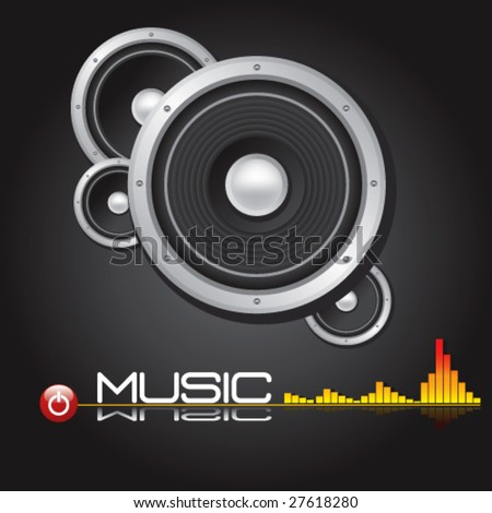 HI-FI Stereo Speaker With Equalizer Background -Vector Art- - stock vector