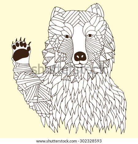 Hi five bear illustration on simple yellow background - Good for T-shirt, bag or whatever print. Vector illustration - stock vector