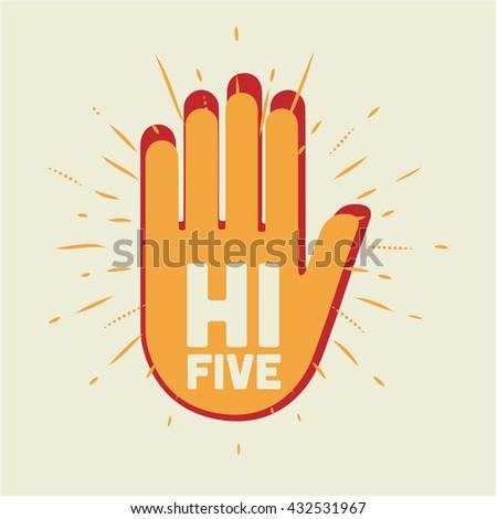 Hi Five illustration. Two hands. - stock vector
