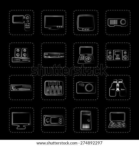 Hi-tech equipment icons - vector icon set 2 - stock vector